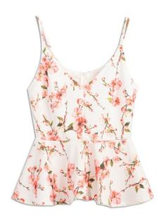 Shop White Spaghetti Strap Floral Print Peplum Crop Top from choies.com .Free shipping Worldwide.$17.99