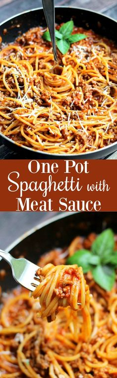 One Pot Spaghetti with Meat Sauce is the perfect simple weeknight meal using only ONE pot! Everyone will rave about this easy dinner dish!