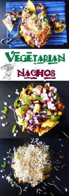 Vegetarian Nachos made with pinto beans, onions, green peppers, black beans, corn and MANGOES!!!