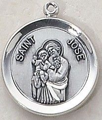 """SAINT JOSE MEDAL, $34.95. Price includes shipping to all fifty states. Solid sterling silver medal, approx. 3/4"""" in circumference. Gift boxed with a complimentary 20"""" stainless steel chain. Carries the Creed lifetime guarantee."""