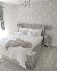 24 Stunning Grey and Silver Bedroom Ideas - Silver And Grey Bedroom, Bedroom Inspo Grey, Silver Bedroom Decor, Gray Bedroom, Home Decor Bedroom, Living Room Decor, Grey Bedroom With Wallpaper, White Grey Bedrooms, Bedroom Ideas For Couples Grey