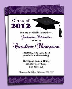 10 best sample graduation invitation images on pinterest purple sweet invitation graduation card with motif as border alongside white background with black mortarboard and black font stopboris Choice Image