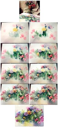 Painting flowers - watercolor on wet paper by Olga Sternik. Painting Lessons, Art Lessons, Painting & Drawing, Watercolour Tutorials, Watercolor Techniques, Art Techniques, Watercolor Flowers Tutorial, Watercolour Flowers, Flower Tutorial
