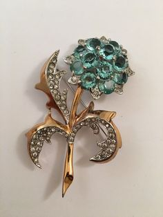 ff69bab26 RARE EARLY JEWELED FLOWER BROOCH - MB - BOUCHER | Jewelry & Watches, Vintage  &