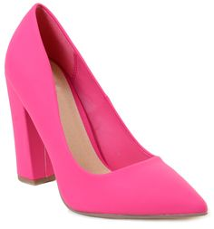 838600dd1b27 Hot Pink Ogden by Not Just A Pump Block Heel Pointed Toe Women s Shoes