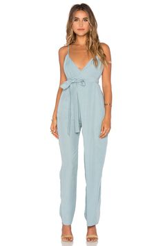 Mara Hoffman Cross Front Jumpsuit in Slate/chambray lunch date ootd