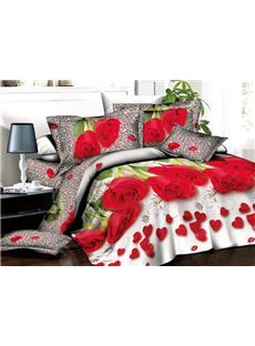 Romantic Red Roses and Heart Shape Petals Print 3D Duvet Cover Sets