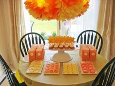 Not into green and yellow for baby neutral gender shower then switch it up with canary yellow with  tangerine