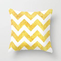 WHITE&GOLD-Chevron Throw Pillow by Rebecca Allen - $20.00