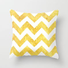 WHITE&GOLD-Chevron Throw Pillow by Rebecca Allen - $20.00