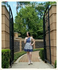 Blue + White Printed Dress