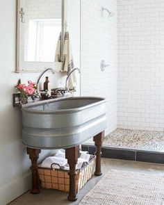 Like the trough idea for a mud room or laundry room .. would do the legs differently though