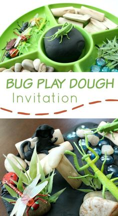 Bug play dough invitation to play. Insect Activities, Playdough Activities, Spring Activities, Nature Activities, Outdoor Activities, Reggio Emilia, Toddler Preschool, Toddler Activities, Preschool Ideas