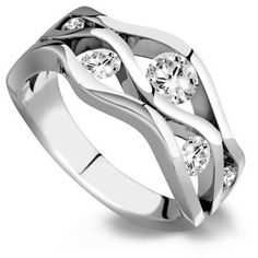 6 Stone Modern Wave Design Diamond Ring