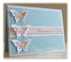 handmade card fromRobinsCraftRoom: More Fun With Butterflies ... clean and simple ... baby blue and pink ... punched  & layered butterflies ...  dotted base texture from embossing folder ... lovely  ... Stampin' Up!