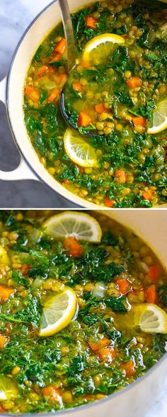 Meet my go-to lentil soup recipe! I make this soup with lentils carrots turmeric and fresh lemon whenever Im in need of some healthy comfort food. Its savory satisfying and utterly delicious. Lentil Soup Recipes, Veggie Recipes, Whole Food Recipes, Vegetarian Recipes, Healthy Recipes, Vegan Soups, Fish Recipes, Recipies, Steak Recipes