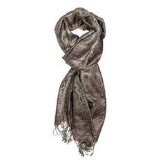 Steel Gray Jamavar Silk Scarf