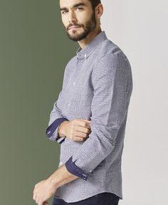 Chemise jacquard à carreaux bleus et blancs One Step