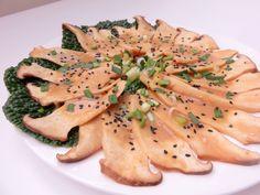 Raw, vegan King Oyster mushroom carpaccio marinated in miso sauce