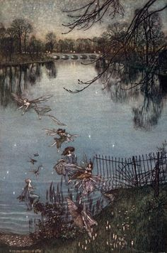 Arthur Rackham ~ The Serpentine is a Lovely Lake ~ Peter Pan in Kensington Gardens by J. M. Barrie ~ 1906