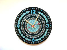 Blue Clock Vinyl Clock Hand Painted Clock Record by Crystallika