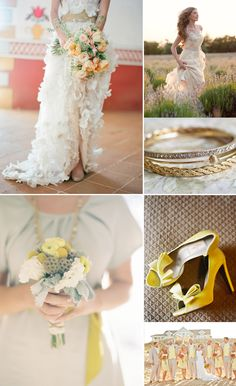 romantic wedding color inspiration taupe yellow