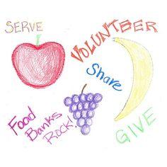 One of our volunteer's art work about volunteering. Food Banks Rock!