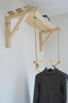 Handmade, Natural Wood, Clothes Rack, Clothes Rail with 3 Shelves - Simply elegant pair of shelf supports for each purpose Shelf support: Dimensions: wood x cm - Clothes Rail, Clothes Storage, Hanging Clothes Racks, Clothes Shelves, Shelf Brackets, New Room, Diy Furniture, Furniture Vintage, Farmhouse Furniture