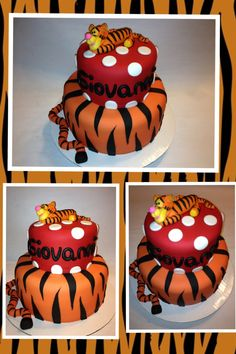 Tigger  - Tigger birthday cake I made for my nephew 1st birthday also made Tigger out of Fondant.