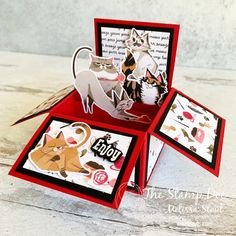 Yesterday, I shared a Box Card featuring the Playful Pets Suite and cute dogs. Today's I'm sharing the cat version. If you missed the video tutorial or supply list, be sure to check out this post. Happy Stamping! The post For Cat Lovers appeared first on The Stamp Doc. Fancy Fold Cards, Folded Cards, Exploding Box Card, Pop Up Box Cards, Card Boxes, Dog Cards, Shaped Cards, Stamping Up Cards, Animal Cards