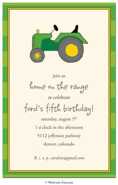Tractor Kids Invitations