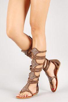 3965850fa Liliana Jeweled Glitter Zip Up Strappy Gladiator Flat Sandal Brown Sandals