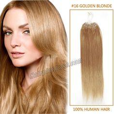 18 Inch #16 Golden Blonde Micro Loop Human Hair Extensions 100S