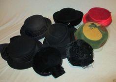 Lot Of 8 Vintage 50's Wool Felt Velvet Hats Veiled Ribbons & Trimming  #Assorted