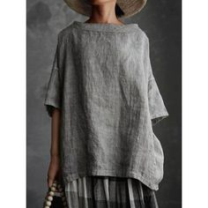Half Sleeves, Types Of Sleeves, Ropa Shabby Chic, Plus Size Casual, Tunic Shirt, Linen Dresses, Mode Inspiration, Mi Long, T Shirts For Women
