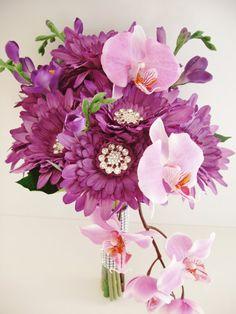 BROOCH BOUQUET Purple Gerbera Orchid Wedding by LizAnnFlorals, $135.00