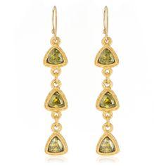 $129 Evelyn Knight peridot green drop earrings