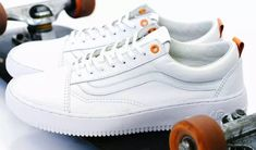 fcb10313d8fdfa White on white leather Vans Old Skool upper on a white Nike Air Force 1  sole with Rokit Orange eyelets and heel tab details.