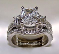 10KT White Gold Princess Cut 5 ct Stone 5A Zircon Stone 3-in-1 Wedding Ring Set