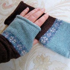 Fair Isle Fingerless Gloves Knit Mitts New for Fall Mocha Coffee Brown Duck Egg Blue Knit to Order. $38.00, via Etsy.