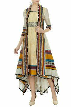 Dresses - Buy Multicolored hand block printed jacket with tunic by Poonam Dubey at Aza Fashions Indian Designer Outfits, Indian Outfits, Designer Dresses, Mode Abaya, Mode Hijab, Kurta Designs Women, Blouse Designs, Stylish Dresses, Casual Dresses