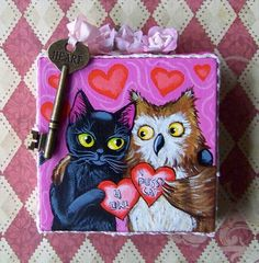 Art: The Owl and the Pussycat Valentines Day Painting by Artist Lisa M. Nelson