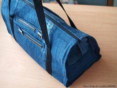 Denim Do Over | Stylish Denim Gym Bag Made From Old Jeans | http://www.denimdoover.com