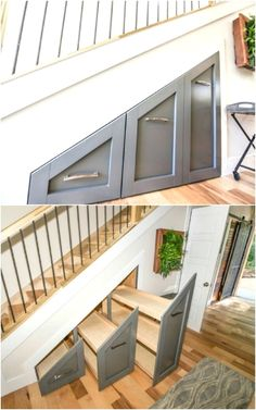 Creative Living Room Storage - 40 Tiny House Storage and Organizing Ideas for the Entire Home. Tiny House Stairs, Tiny House Living, Tiny House Plans, Living Room, Staircase Storage, Stair Storage, Design Your Home, Tiny House Design, Under Steps Storage