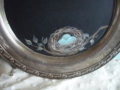 Silver tray chalkboard with painted bird nest