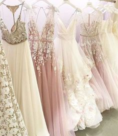 Beautiful formal occasion dresses. Pinks, creams, tulle and embellished - lovely