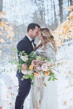 bride and groom standing with their foreheads together with bouquet in front of them on snowy day Wedding Couples, Wedding Bands, Wedding Gowns, Golden Leaves, Modern Romance, Snowy Day, Gold Ribbons, Wedding Images, Wine Country