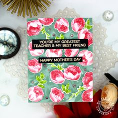 Two More Floral Mother's Day Cards Mothers Day Cards, Happy Mothers Day, Subtle Background, Happy Everything, Gold Watercolor, Distress Oxide Ink, Pen Sketch, Altenew