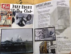Initial Ideas Page for Together and Apart 2015 GCSE title exploring Jazz culture, Future and Past, Block colour buildings and surrealism
