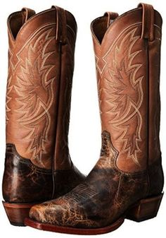 These all Leather Brown and Tan Cowboy Boots from Tony Lama will look just right from the arena to a night out! With a dark brown snip toe, tan top with contrasting white, yellow, and gray stitching,